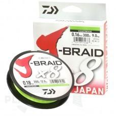 Плетёный шнур Daiwa J-Braid x8 флуор-жёлтая, 150 м