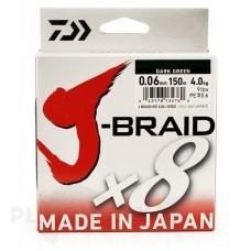 Плетёный шнур Daiwa J-Braid x8 зелёная, 150 м