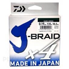 Плетёный шнур Daiwa J-Braid x4 зелёная, 135 м