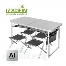 Стол склад. Norfin RUNN NF Alu 120x60 +4 стула набор